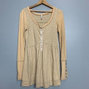 FREE PEOPLE | Henley Embroidered Tunic Sz XS